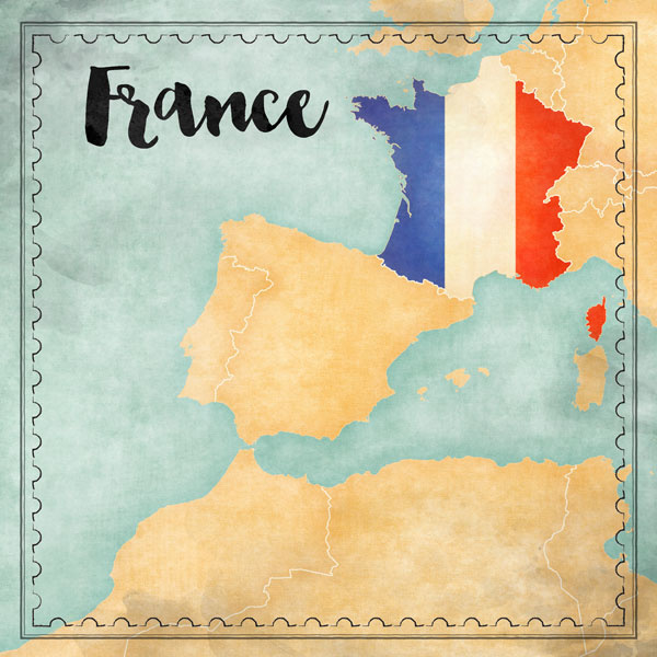 France Map Sights- scrapbook papier