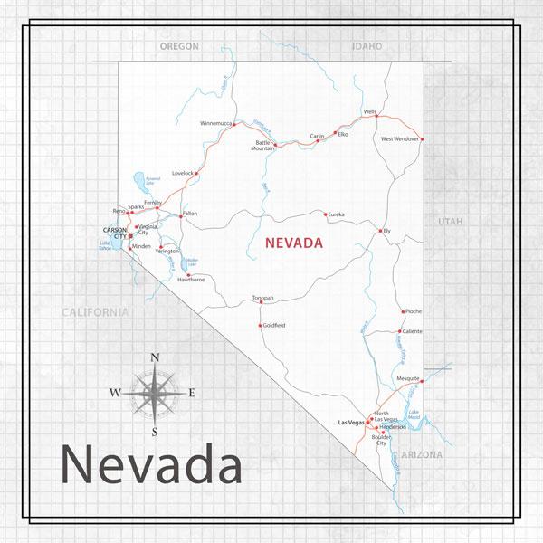 Nevada - Adventure Map - 12x12 scrapbookpapier