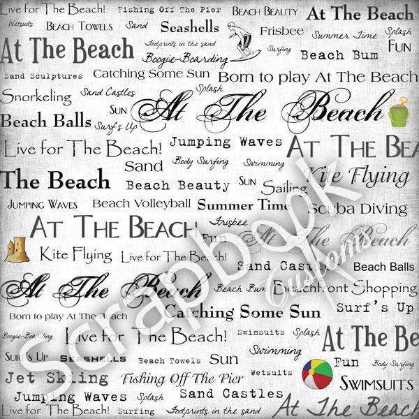 At the Beach - woorden 30.5x30.5 centimeter papier
