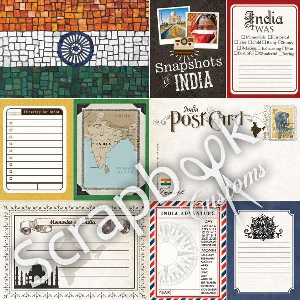 India - Journal -dubbelzijdig scrapbooking papier - 12 x 12 inch