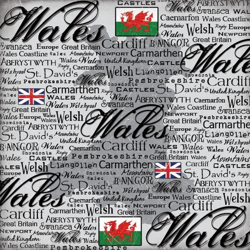 Wales  - Scratchy 12 x 12 Papier Scrapbook Customs - World Collection
