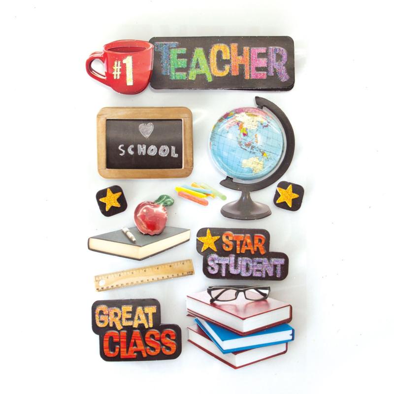 School Teacher stickers met 3d effect op een handig verzamelvel