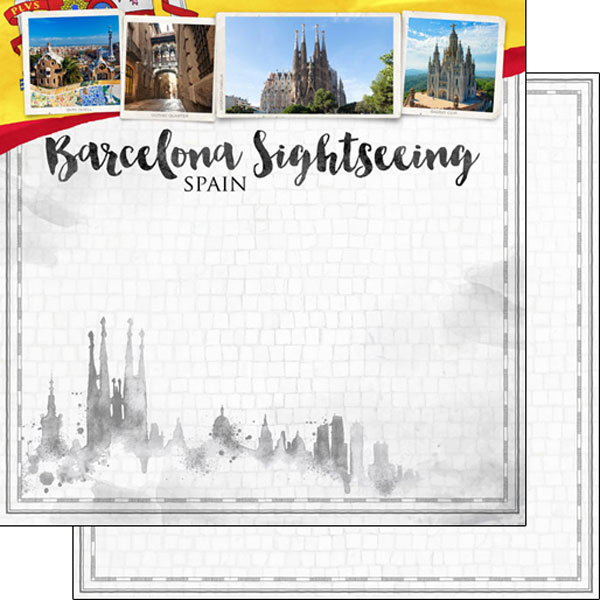 Barcelona City Sights - dubbelzijdig scrapbook papier