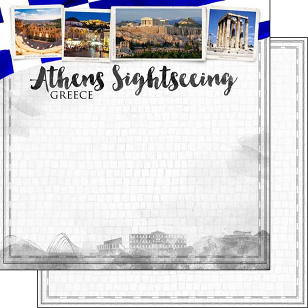 Athens Sightseeing - Griekenland/Athene - dubbelzijdig scrapbook papier