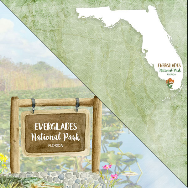 fLorida Everglades National Park - dubbelzijdig - 12x12 Papier - scrapbook customs