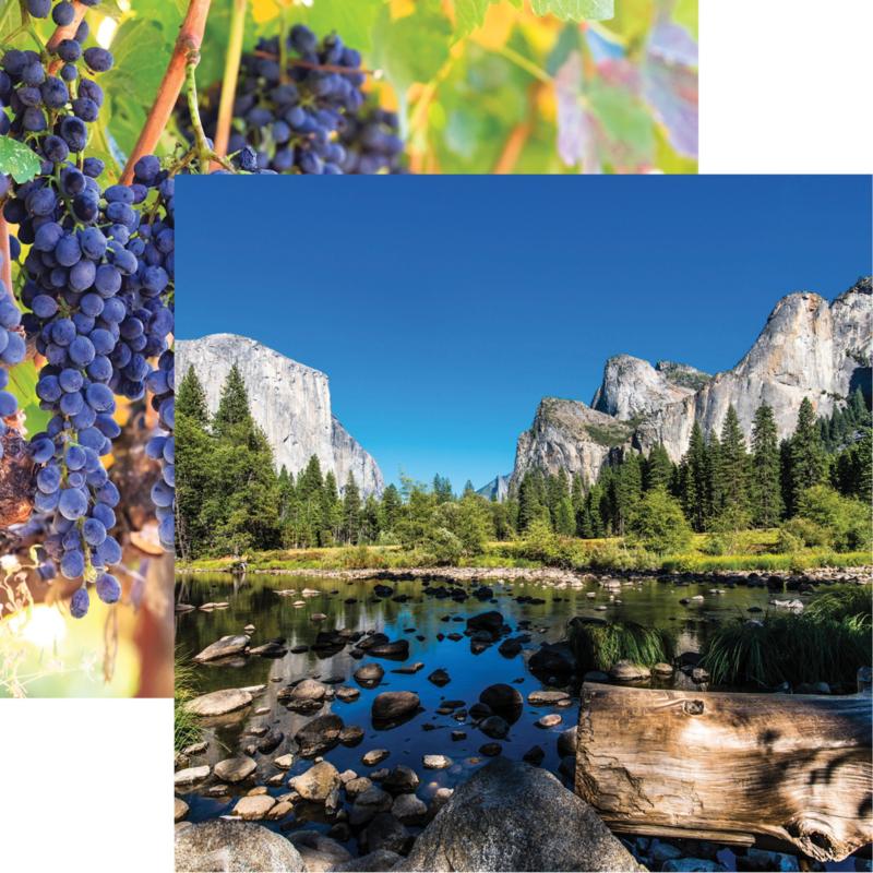 California Yosemite  / Napa Valley - dubbelzijdig papier 30.5 x 30.5 cm