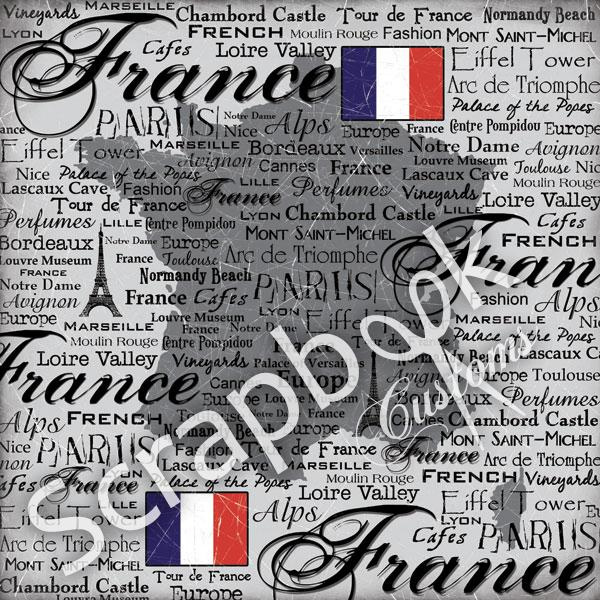 France Scratchy - papier 30.5 x 30.5 cm - Scrapbook customs