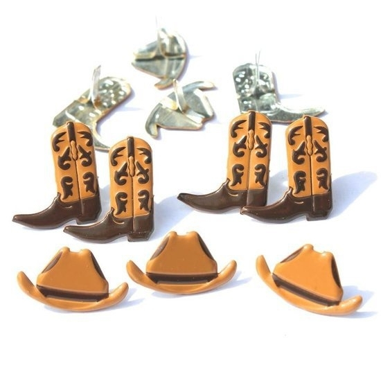 Cowboy hoed en laarzen splitpennen 12 stuks