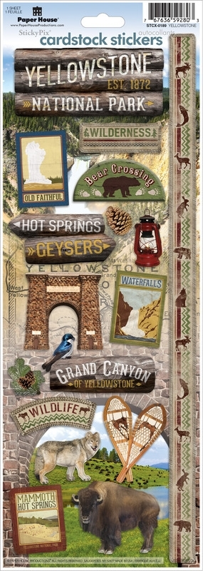 Paper House Productions STCX-0189E scrapbook stickers Yellowstone park