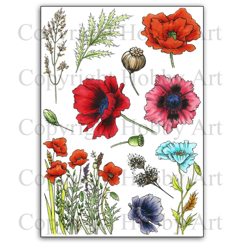 Poppies / klaprozen clear stempels A5
