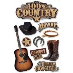 100% Country - 3D stickers