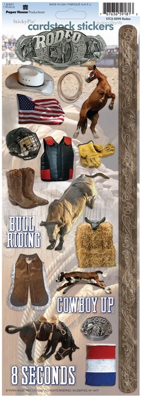 Rodeo Bull Riding scrapbook stickers - Sticky pix - Paper House