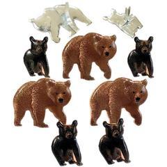 Bruine beren -  splitpen decoratie - zakje 12 stuks