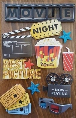 Movie Night - scrapbook 3d stickers