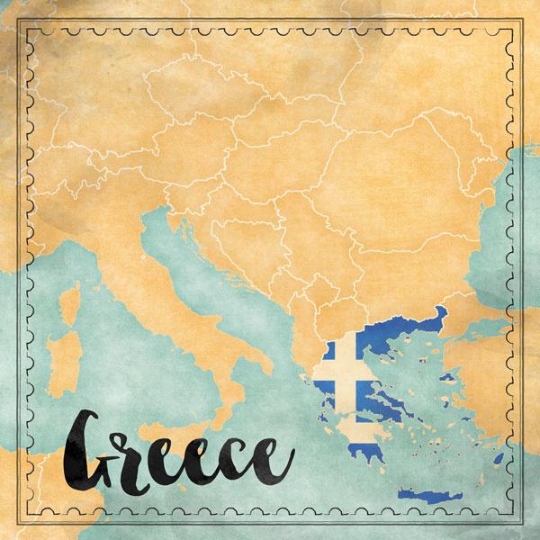Greece Map Sights- scrapbook papier