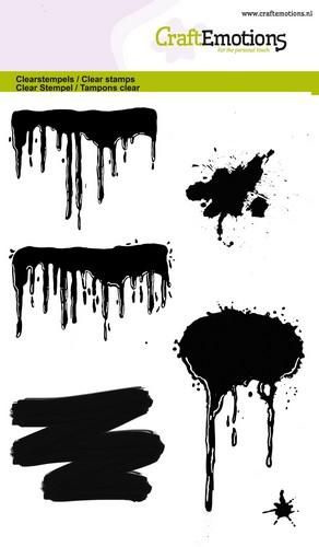 Paint drips, splashes - clear stamps A6-formaat