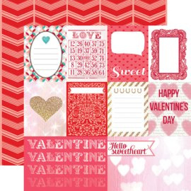 Scrapbookpapier Lucky in Love Journaling Cards