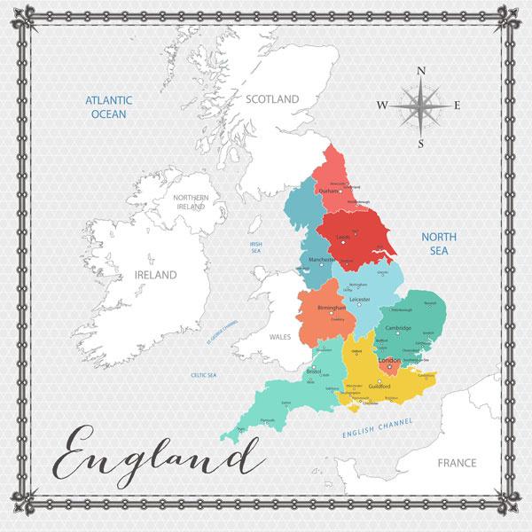 England Memories Map - scrapbookpapier