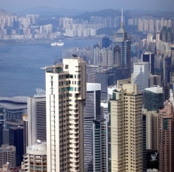 Hong Kong Wolkenkrabbers scrap papier