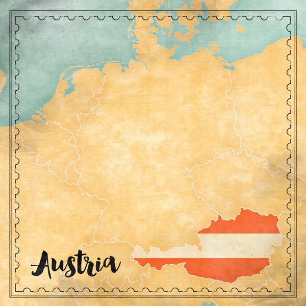 Austria Map Sights- scrapbook papier