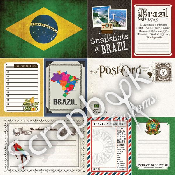 Brazil - Journal - dubbelzijdig papier - 30.5 x 30.5 cm