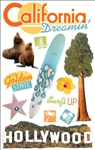California Dreamin' / Hollywood - 3D stickers