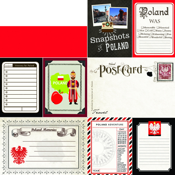 Poland Journal scrapbook papier - 12 x 12 inch - scrapbook customs
