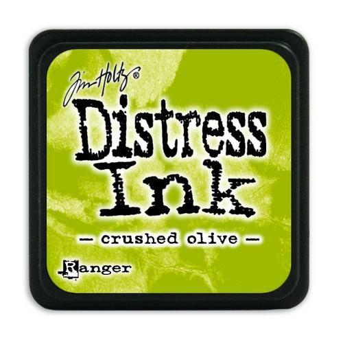 Mini  Distress inkt - Crushed Olive - waterbased dye ink / inkt op waterbasis - 3x3 cm