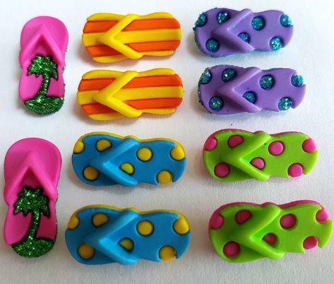 Slippers / Flip Flops  - knopen decoratie - zakje 10 stuks