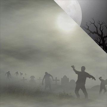 Attack zombies Halloween dubbelzijdig papier 30.5 x 30.5 cm