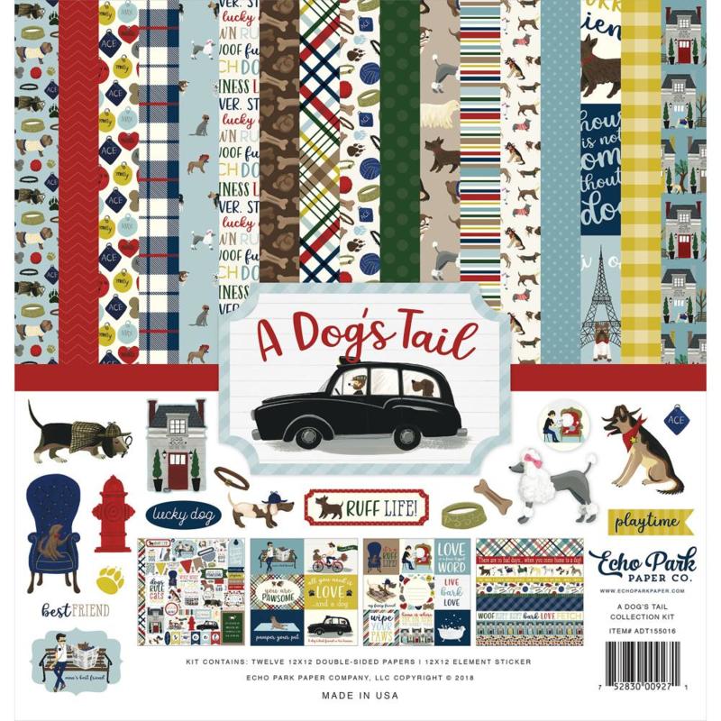 Scrapbook pakket A Dog's Tail - collection kit  30.5 x 30.5 cm