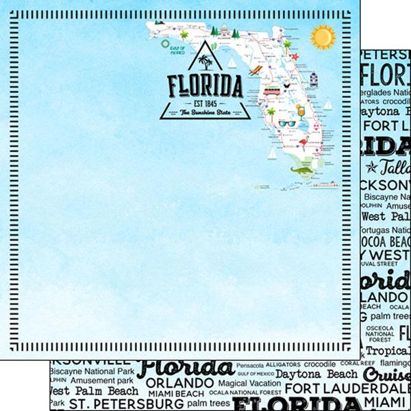 Florida - Postage Map - dubbelzijdig - 12x12 Papier - scrapbook customs