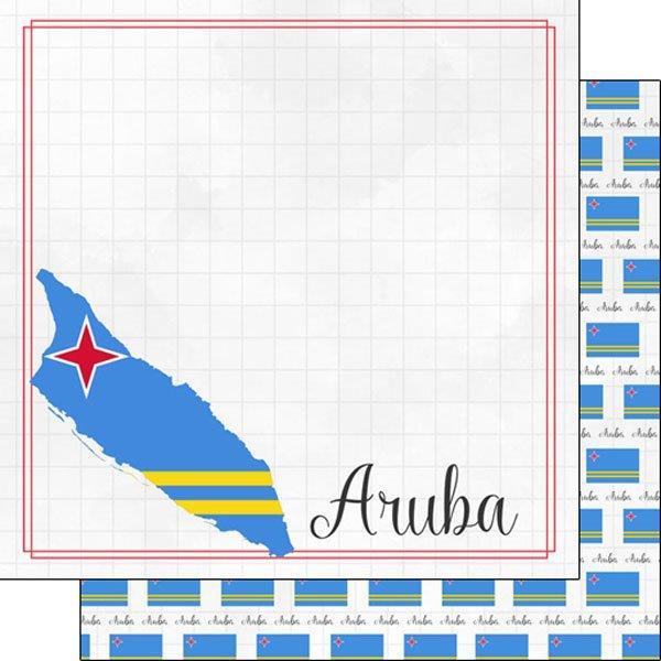 Aruba - Adventure border - dubbelzijdig scrapbookpapier - 30.5x30.5 centimeter