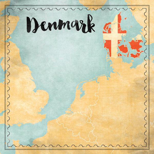 Denmark Map Sights- scrapbook papier