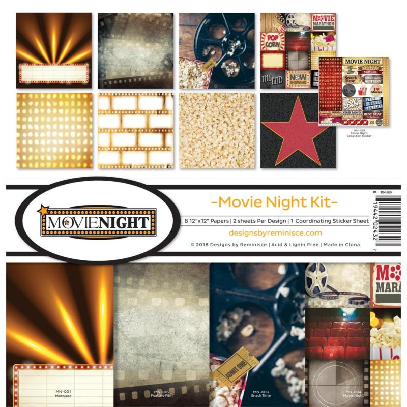 Scrapbook papier - Movie Night paperkit - 30.5 x 30.5 cm