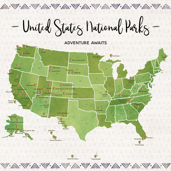 United States National Parks / Adventures awaits - scrapbook customs - 12x12 inch