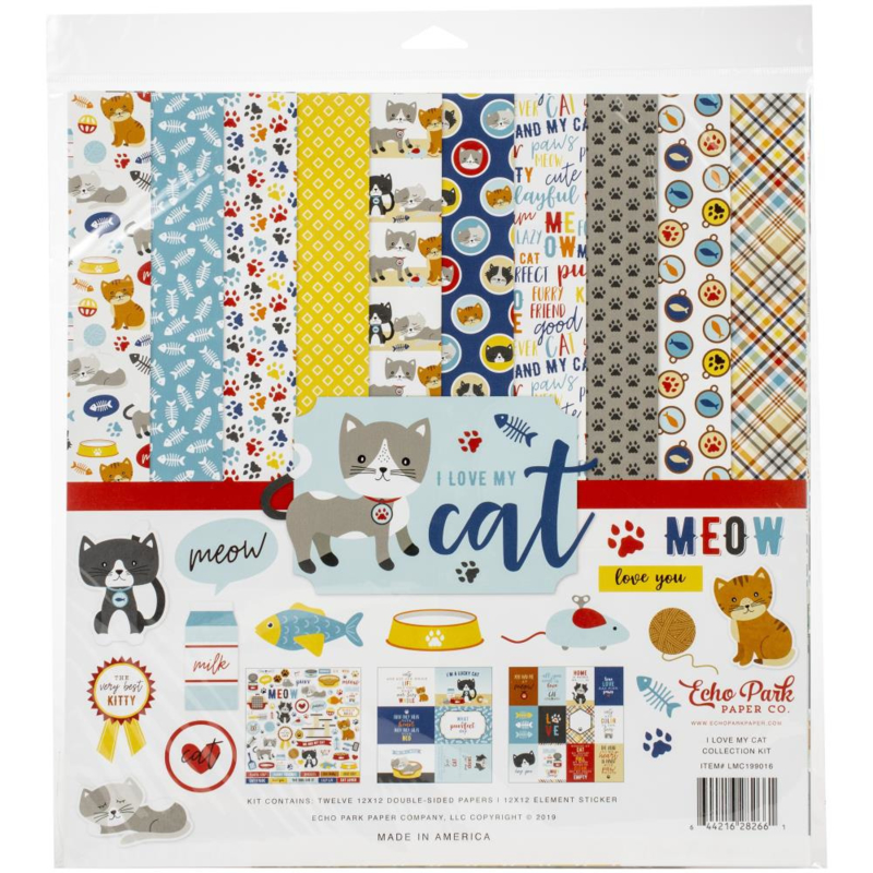 I Love my Cat - collection kit - papier 30.5 x 30.5 cm