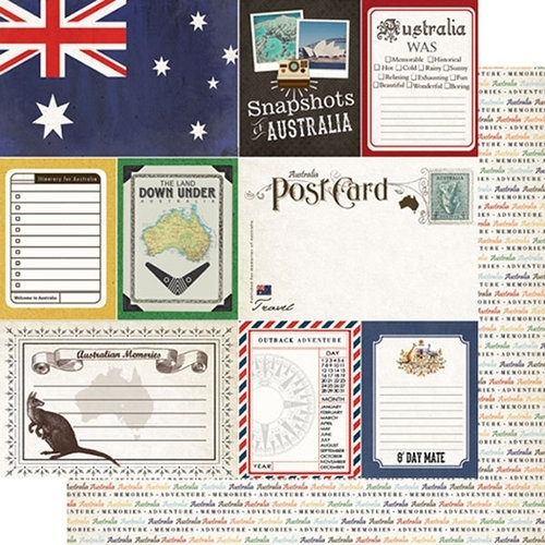 Scrapbook papier Australie - Travel Photo Journaling Collection - 12 x 12 inch