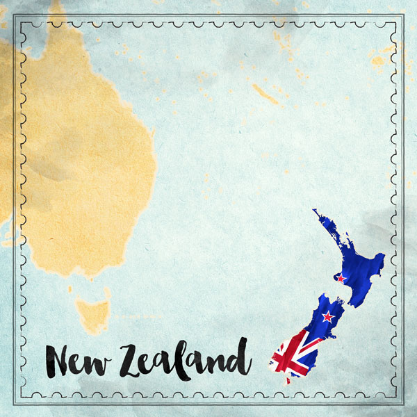 New Zealand Map Sights- scrapbook papier