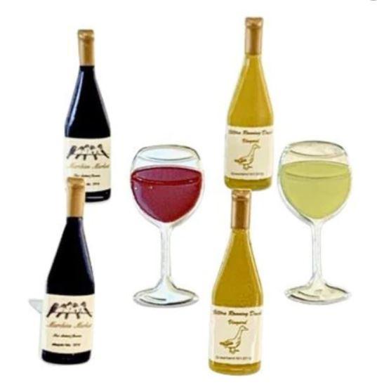 Wijnfles met glas  -  splitpen decoratie - zakje 12 stuks