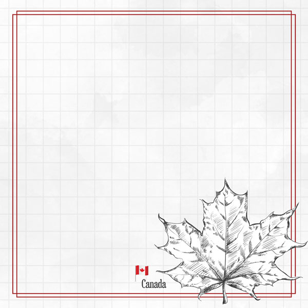 Canada Adventure Maple Leaf - dubbelzijdig scrapbook papier