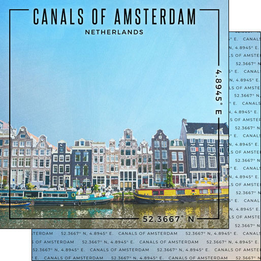 Canals of Amsterdam - 12x12 inch scrapbook papier