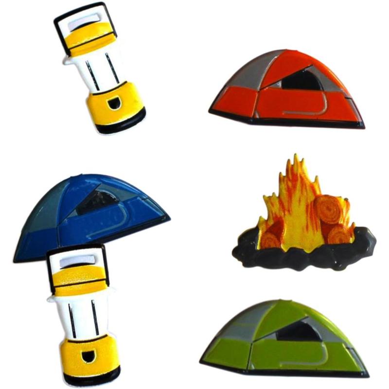 Eyelet Outlet Shape Brads, Camping - zakje 12 stuks
