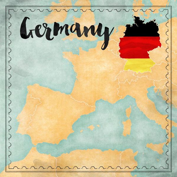 Germany Map Sights- scrapbook papier