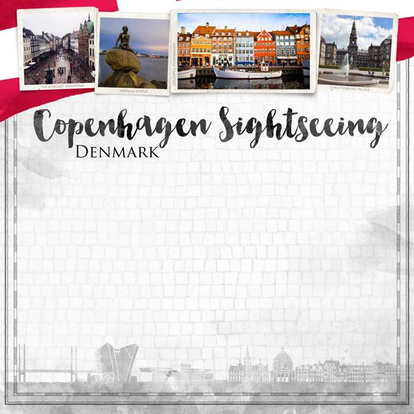 Copenhagen City Sights  - 30.5 x 30.5 cm