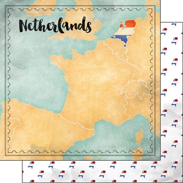 Netherlands Map Sights - 12x12 inch scrapbook papier