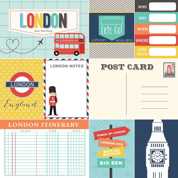 London Memories Journal - scrapbookpapier 30.5 x 30.5 cm