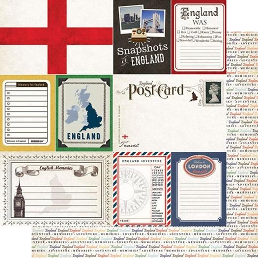 Travel Photo Journaling -  12 x 12 Double Sided scrapbook Papier - Engeland