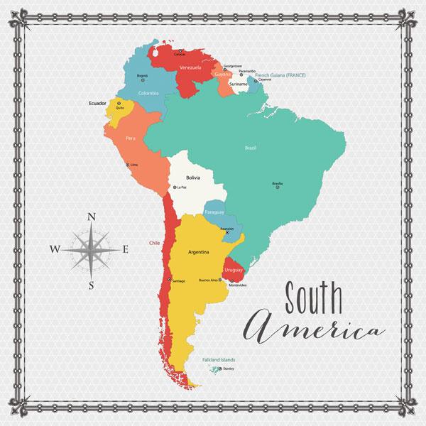 South America - Memories Map - papier - 30.5 x 30.5 cm