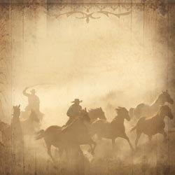 Western cowboys op paarden papier 12 inch